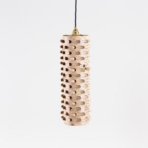 Schmale Wohnzimmerlampe aus Birkenrinde mit Textilkabel / ø15cm - MOYA Birch Bark