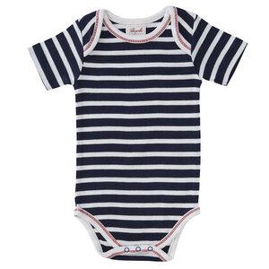 Baby Kurzarm Body dunkelblau geringelt Bio - People Wear Organic