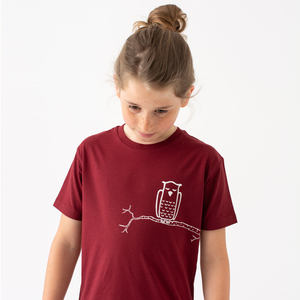 Kinder T-Shirt Zweigeule in burgundy - Cmig