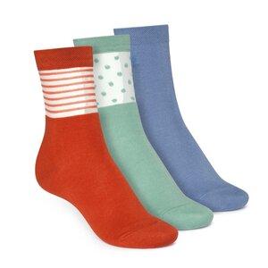 Socken Mittelhoch Grün Rot Blau 3er Pack Bio Fair - ThokkThokk