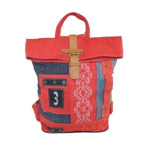 Sunsa Upcycling Rucksack rot / Jeans - Sunsa