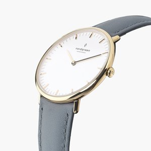 Armbanduhr Native Gold | Weißes Ziffernblatt - Lederarmband - Nordgreen Copenhagen