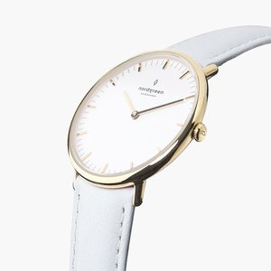 Armbanduhr Native Gold   Weißes Ziffernblatt - Lederarmband - Nordgreen Copenhagen