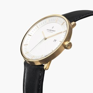 Armbanduhr Philosopher Gold - Italienisches Lederarmband - Nordgreen Copenhagen