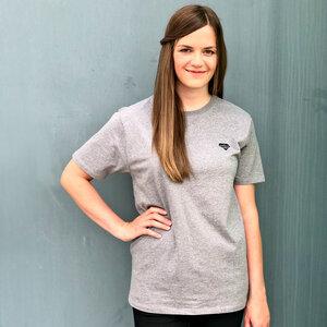 "Basic T-Shirt ""Logo Tee"" Unisex aus Bio-Baumwolle grau meliert - eisbörg"