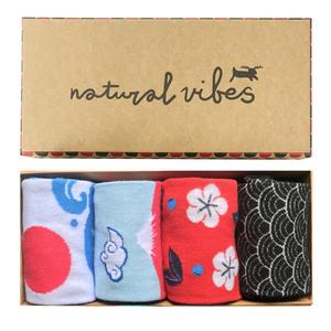 Socken geschenkboxen Bio GOTS | Bunte Socken | Herren Damen | Japanese - Natural Vibes