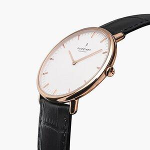 Armbanduhr Native Roségold | Weißes Ziffernblatt - Lederarmband - Nordgreen Copenhagen