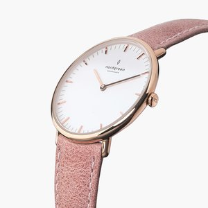 Armbanduhr NativeRoségold| Weißes Ziffernblatt - Lederarmband - Nordgreen Copenhagen