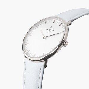 Armbanduhr NativeSilber - Italienisches Lederarmband - Nordgreen Copenhagen