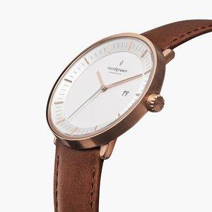 Armbanduhr Philosopher Roségold - Italienisches Lederarmband - Nordgreen Copenhagen