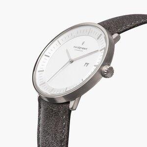 Armbanduhr Philosopher Silber - Italienisches Lederarmband - Nordgreen Copenhagen