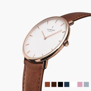 Armbanduhr NativeRoségold- Italienisches Lederarmband - Nordgreen Copenhagen