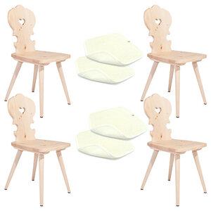 Set: 4 Bauernstühle aus Zirbenholz plus 4 Sitzkissen aus Schafwolle - 4betterdays