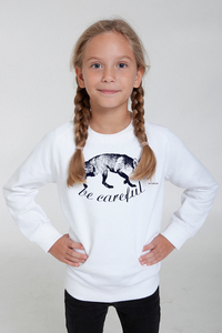 "Bio-Kindersweatshirt ""Be Careful"" - Peaces.bio - Neutral® - handbedruckt"