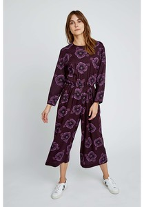 Tencel Jumpsuit - Portia Pansy Jumpsuit - Burgundy - People Tree