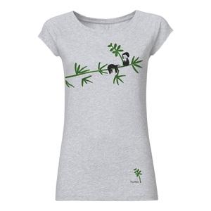 FellHerz Damen T-Shirt Faultier Hellgrau Meliert Bio Fair - FellHerz