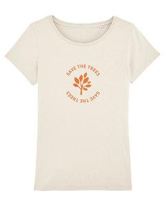 "Damen T-Shirt aus Bio-Baumwolle ""Save the Trees"" - Orange - University of Soul"