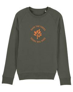 "Herren Sweatshirt aus Bio-Baumwolle ""Save the Trees"" - Orange - University of Soul"