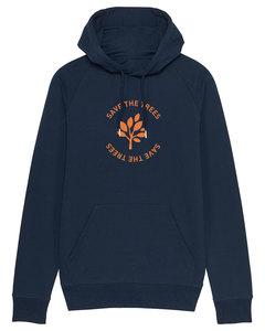 """Herren Hoodie aus Bio-Baumwolle """"Save the Trees"""" - Orange - University of Soul"""