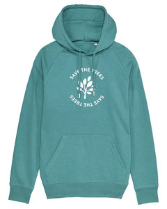 "Herren Hoodie aus Bio-Baumwolle ""Save the Trees"" - White - University of Soul"