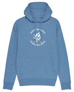 "Herren Hoodie aus Bio-Baumwolle ""Save the Trees"" - White - University of Soul"