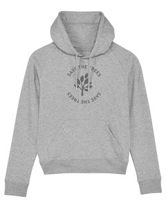 "Damen Hoodie aus Bio-Baumwolle ""Save the Trees"" - Anthracite - University of Soul"
