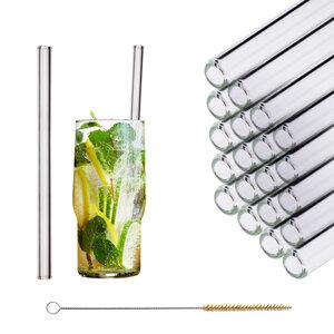 HALM Trinkhalm aus Glas 20 cm 20x Glastrinkhalm Glasstrohhalm + Bürste - HALM