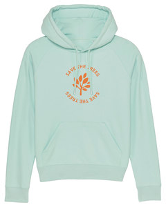 "Damen Hoodie aus Bio-Baumwolle ""Save the Trees"" - Orange - University of Soul"
