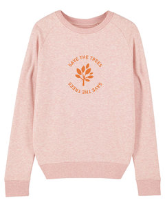 "Damen Sweatshirt aus Bio-Baumwolle ""Save the Trees"" - Orange - University of Soul"