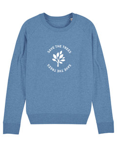 "Damen Sweatshirt aus Bio-Baumwolle ""Save the Trees"" - White - University of Soul"