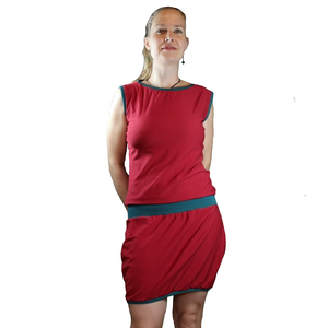 Bio Jersey Shirtkleid mit U-Boot Auschnitt rot/grün oder rot/schwarz - liebewicht