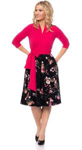 GLORIA Wickel-Kleid (Japanese Boho Floral auf schwarz) - Ingoria