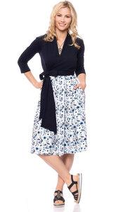 GLORIA Wickel-Kleid (Flower Garden blau auf weiß) - Ingoria