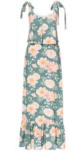 MANIA Maxi Kleid (Romantic Roses & Peonies graugrün) aus Bambusfasern - Ingoria