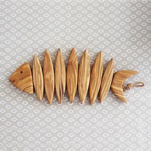 Topfuntersetzer aus Holz in Fischform kurz - Mitienda Shop