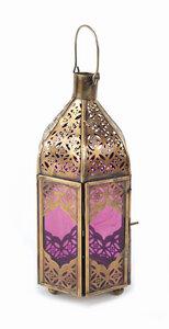Laterne von El Puente - Eisen und violettfarbenes Glas - H 20 cm - El Puente