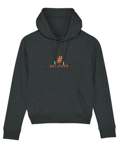 "Damen Hoodie aus Bio-Baumwolle ""BELIEVER"" - Orange - University of Soul"