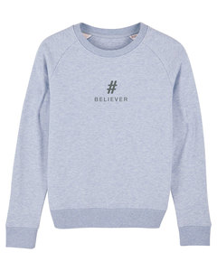 "Damen Sweatshirt aus Bio-Baumwolle ""BELIEVER"" - Anthracite - University of Soul"