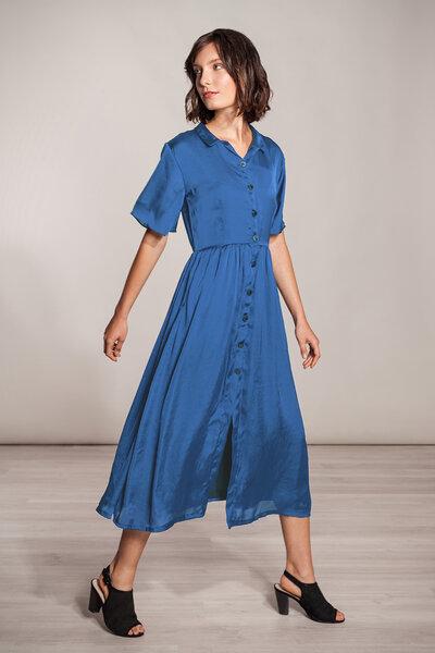 buy popular 1dfef 9669a Langes Kleid blau Viskose mit Knöpfen