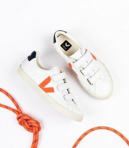Sneaker Damen - 3-Lock Logo Leather - Extra White Orange Fluo Nautico - Veja