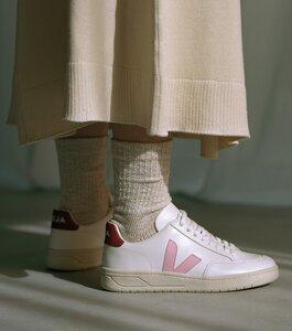 Sneaker Damen - V-12 Leather - Extra White Guimauve Marsala - Veja