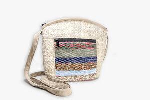HH Handtasche CHEKKA Bag aus wildem Hanf und Recycle-Sari - Himal Hemp