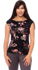 LULU Damen-Wende-Top (Japanese Boho Floral auf schwarz) - Ingoria