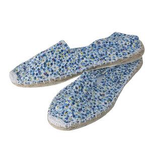 Espadrilles Canvas Unisex Sommerlatschen Leinen Blümchen hellblau - Japanwelt Espadrilles