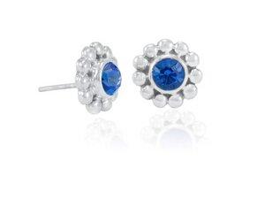 Ohrringe Silber Sonnenblume blauer Zirkonia Glitzerstein Fair-Trade - pakilia