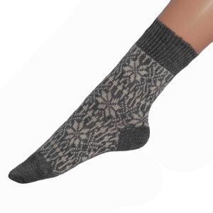 Damen Herren Norweger Socke mit Stern-Muster - hirsch natur