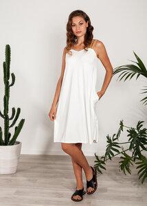 Sommerkleid kurzes Kleid mit Trägern Kork Viskose weiß - SinWeaver alternative fashion