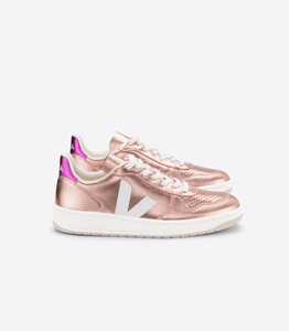 Sneaker Damen - V-10 Leather - Nacre White Fushia - Veja