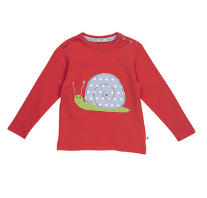 Piccalilly Langarm Shirt Schnecke rot 100% Baumwolle( bio)   - piccalilly