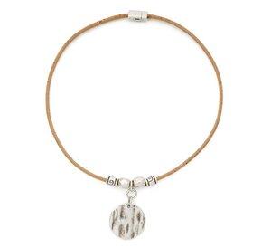 Naturkork Halskette - Schmuck- trendige Kette aus Kork – silberfarbener Anhänger  - Artelusa